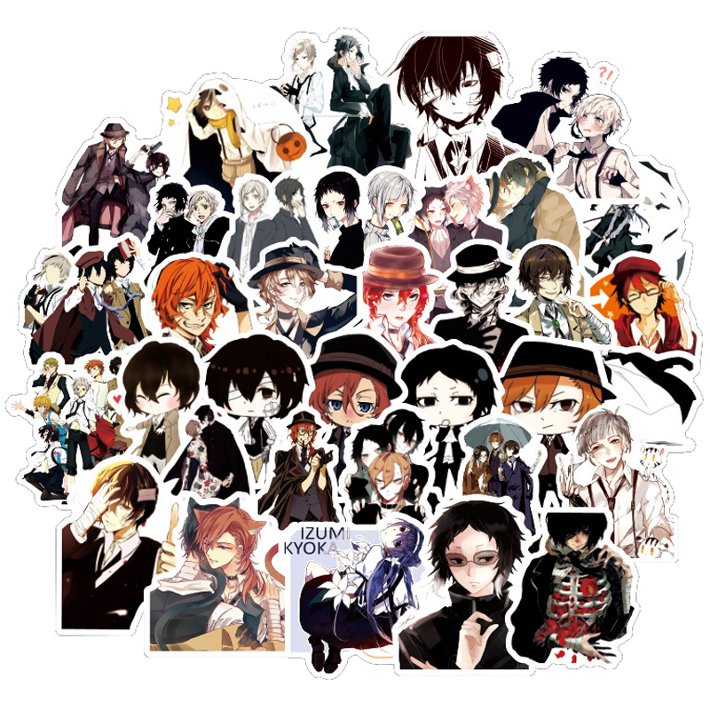 50pcs Bungo Stray Dogs Anime Sticker Stickers PVC Graffiti Stickers Suitcase Luggage Guitar Car Waterproof For Children Toys