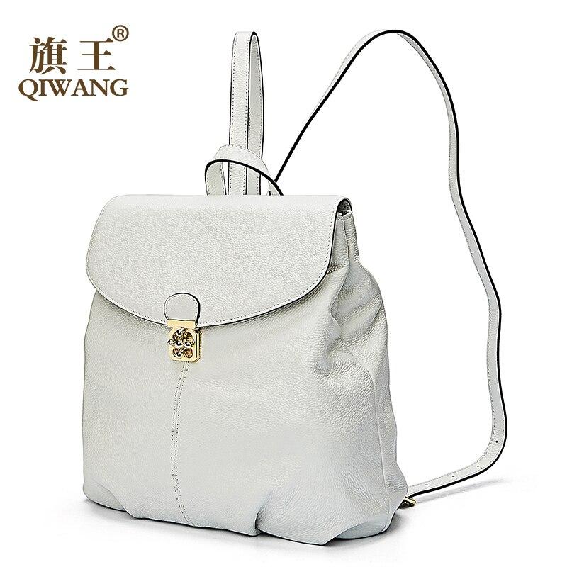 Qiwang 가죽 여성 배낭 학교 부드러운 진짜 가죽 배낭 패션 럭셔리 브랜드 여성 배낭 여성 roomy 어깨 가방-에서백팩부터 수화물 & 가방 의  그룹 2