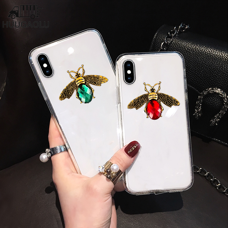 Luxury Bee Case for <font><b>iPhone</b></font> 11 Pro Max XS XR 6S 7 <font><b>8</b></font> SE 2 2020 Etui Coque for Samsung S20 Ultra S10 A50 A51 A70 A71 Note 10 Plus image