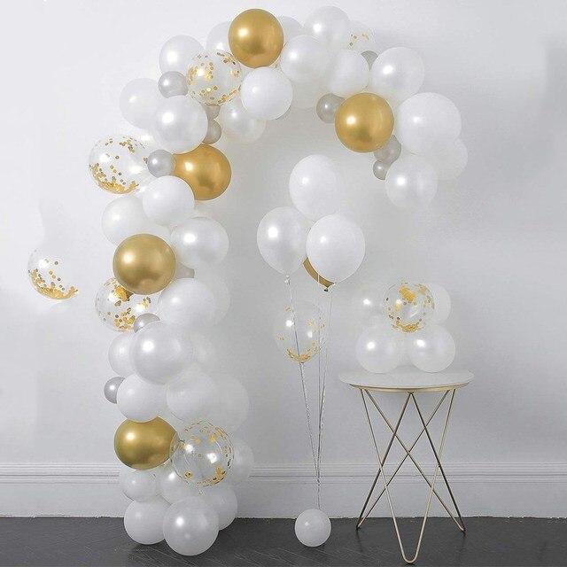 120pcs lot Gold Confetti Balloon Arch Kit White Latex Garland Balloons Baby Shower Supplies Backdrop Wedding Party xmas Decors