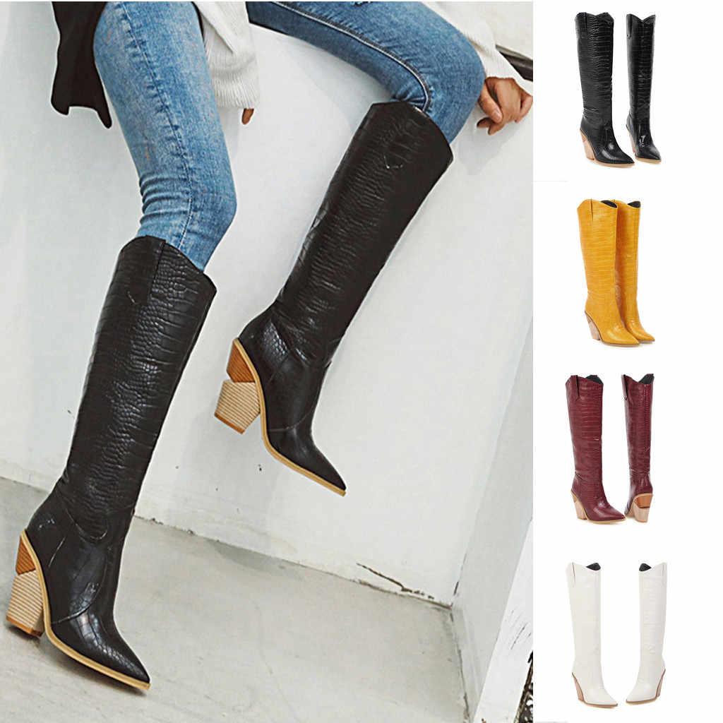 Kadın diz yüksek çizmeler Takozlar Sivri burun Rahat botlar kadın kış 2019 Işlemeli Batı kovboy çizmeleri kadınlar için