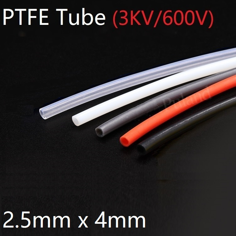 PTFE Tube ID 2.5mm X 4mm OD F46 Insulated Capillary Heat Protect Transmit Hose Rigid Pipe Temperature Corrosion Resistance 600V