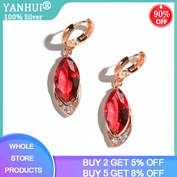 Silver 925 Jewelry Earrings Ruby Fine Jewelry Classic Vintage Earring Party Pomegranate Rose Gold Color Red Crystal Drop Earring
