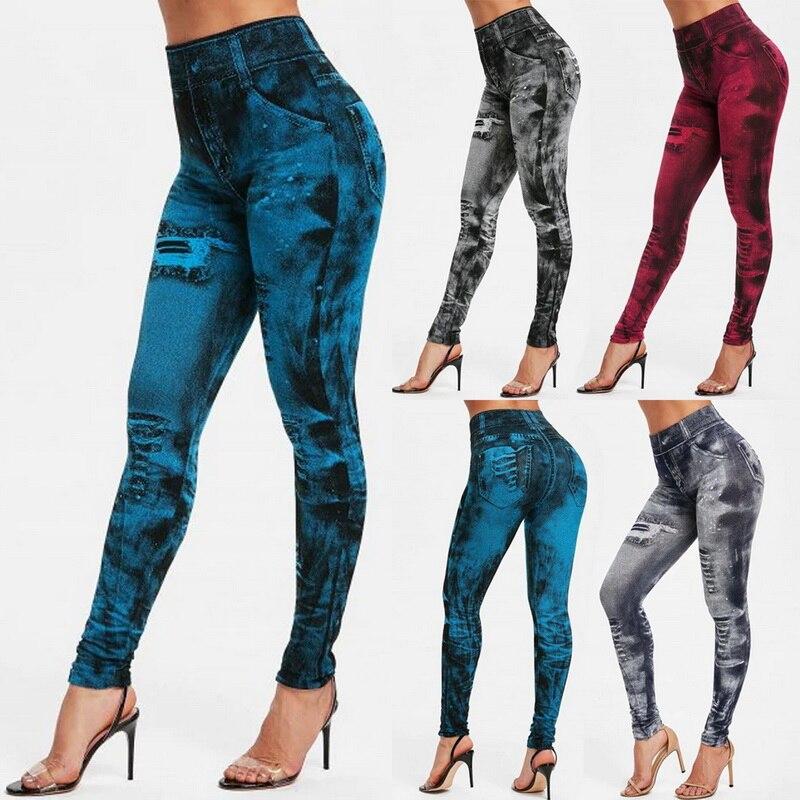 2020 Women Gym Leggings Faux Denim Jeans Leggings Pocket Printing Leggings Casual High Waist Pencil Pants Plus  Pants