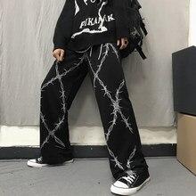 Harajuku retro calças femininas espinhos impresso cintura elástica solta perna larga calças moda streetwear grunge calças casuais escuras unisex