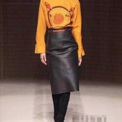 Falda de mujer 100% piel de oveja Natural cuero genuino 2019 moda Real piel de oveja falda femenina Falda larga de cintura alta