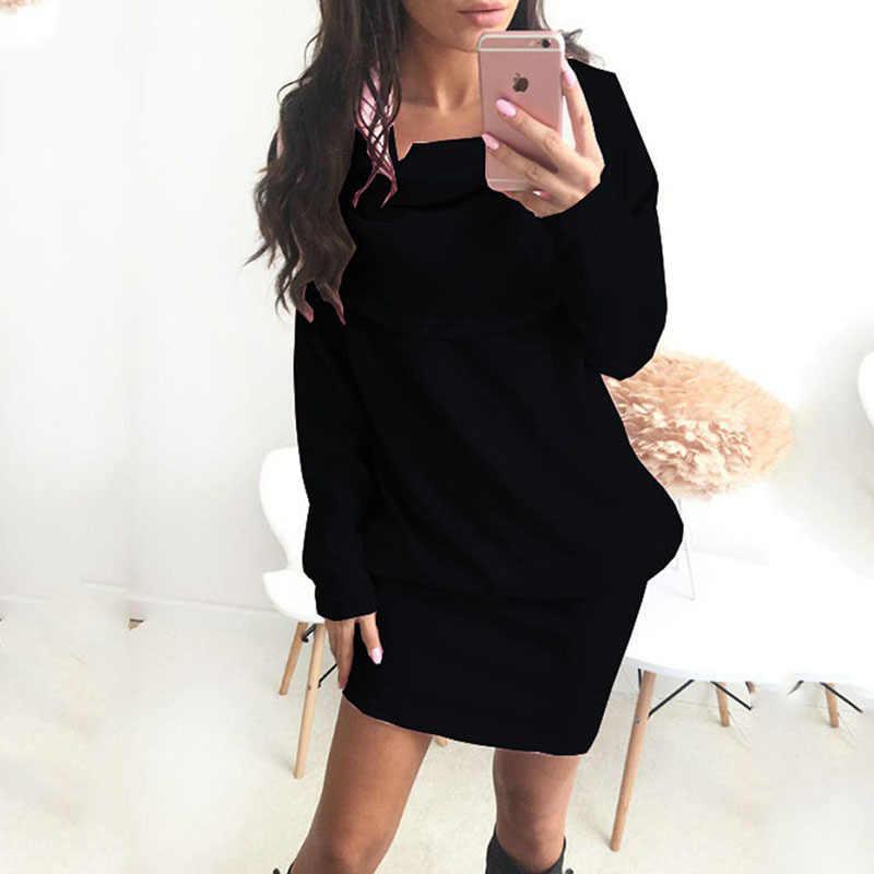 אופנה חורף סתיו גבירותיי מקרית ארוך שרוול סוודר דש סוודר שמלת בגדי הריון שמלת הריון שמלה