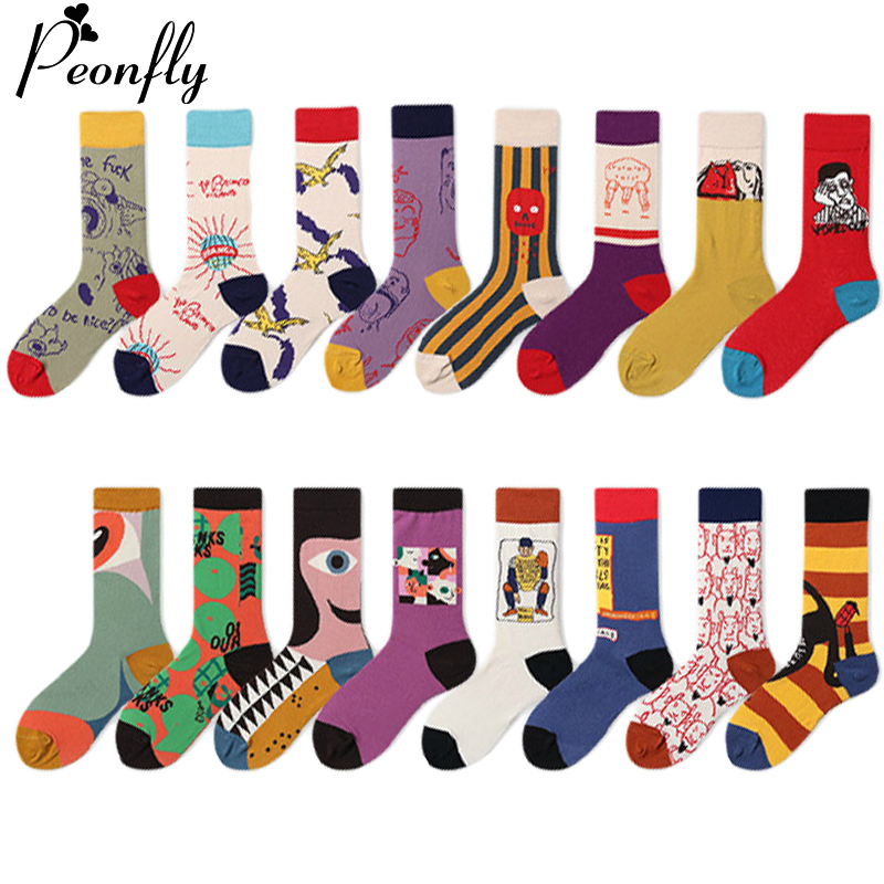 PEONFLY New 2019 Autumn Winter Women Socks Funny Abstract Character Pattern Happy Socks Casual Combed Cotton Sokken