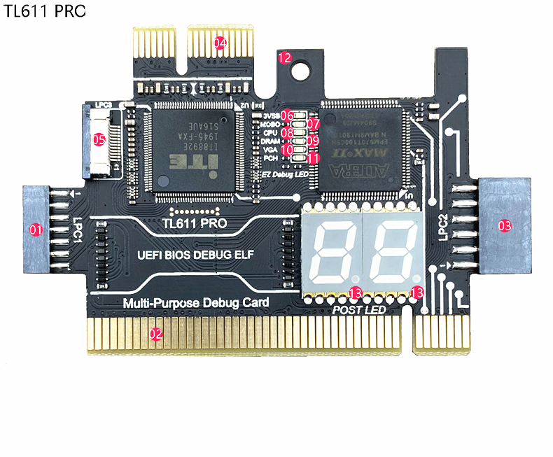 Analyzer LPC Debug Card PCI PCI-E Post Test Kit Motherboard Diagnostic Card J04