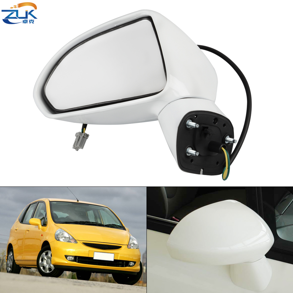 ZUK Left Right Exterior Rearview Mirror Assy For HONDA FIT JAZZ 2005-2008 FIT SALOON 2003-2006 CITY 2007-2008 3-PINS No LED Lamp