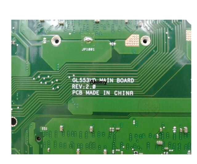 Placa base para ordenador portátil Akemy GL553VD para For For For Asus ROG GL553VE GL553V FX53VD ZX53V placa base original i5-7300HQ GTX1050