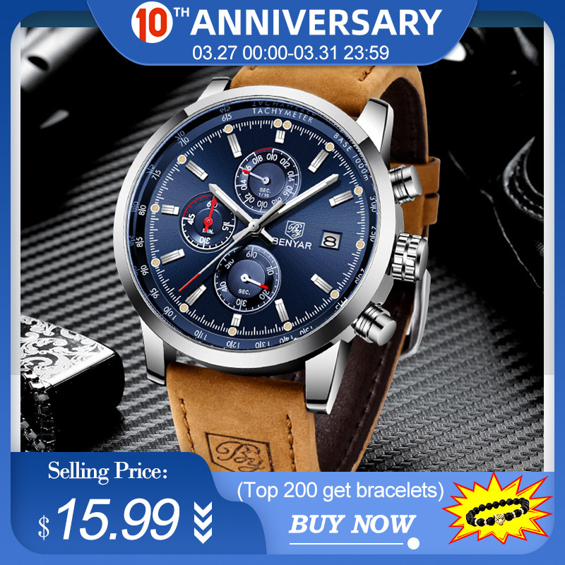 BENYAR 2020 New Blue Men Watches Top Brand Luxury Waterproof Sport Quartz Chronograph Military Watch Men Clock Relogio Masculino