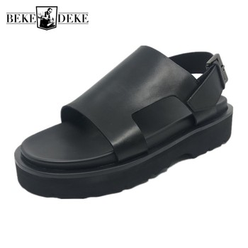 Summer Thick Bottom Increased Genuine Leather Sandals Mens Platform Shoes New Open Toe Gladiator Sandal Male Beach Roman Sandals