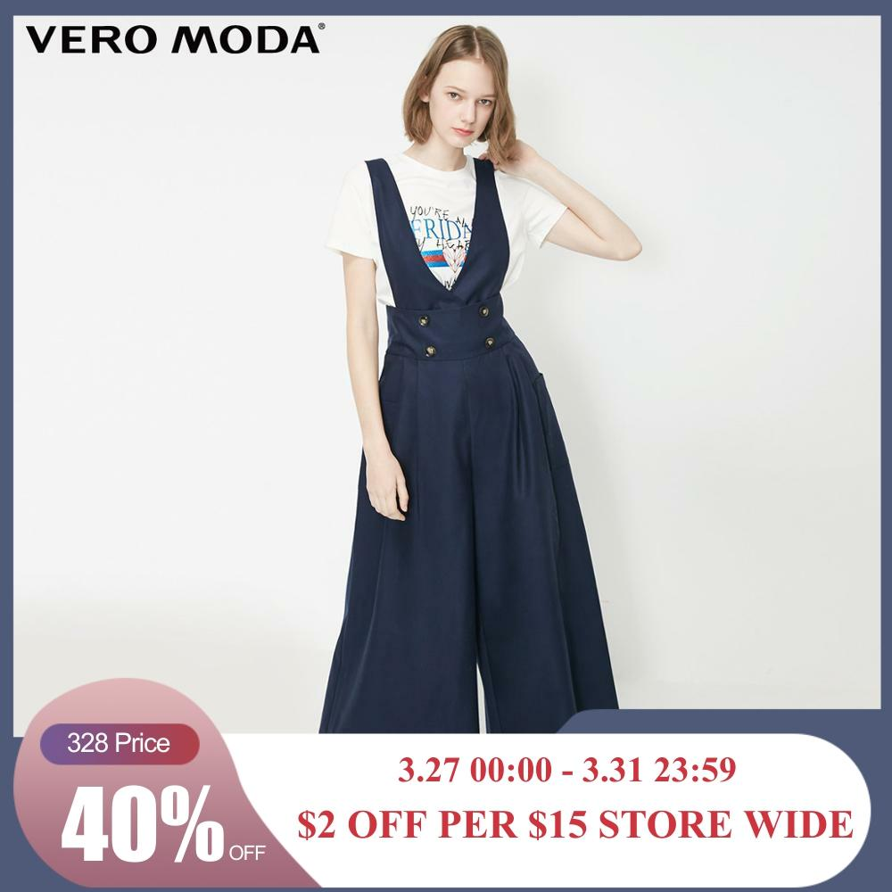 Vero Moda Women's Double-breasted Side Pocket Wide-leg Overalls Jumpsuit | 319144507
