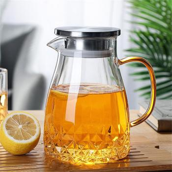 1000ML Large Capacity Glass Tea Pitcher With Stainless Steel Lid Household Glass Water Jug Tea Pot For Hot Cold Tea Juice цена 2017