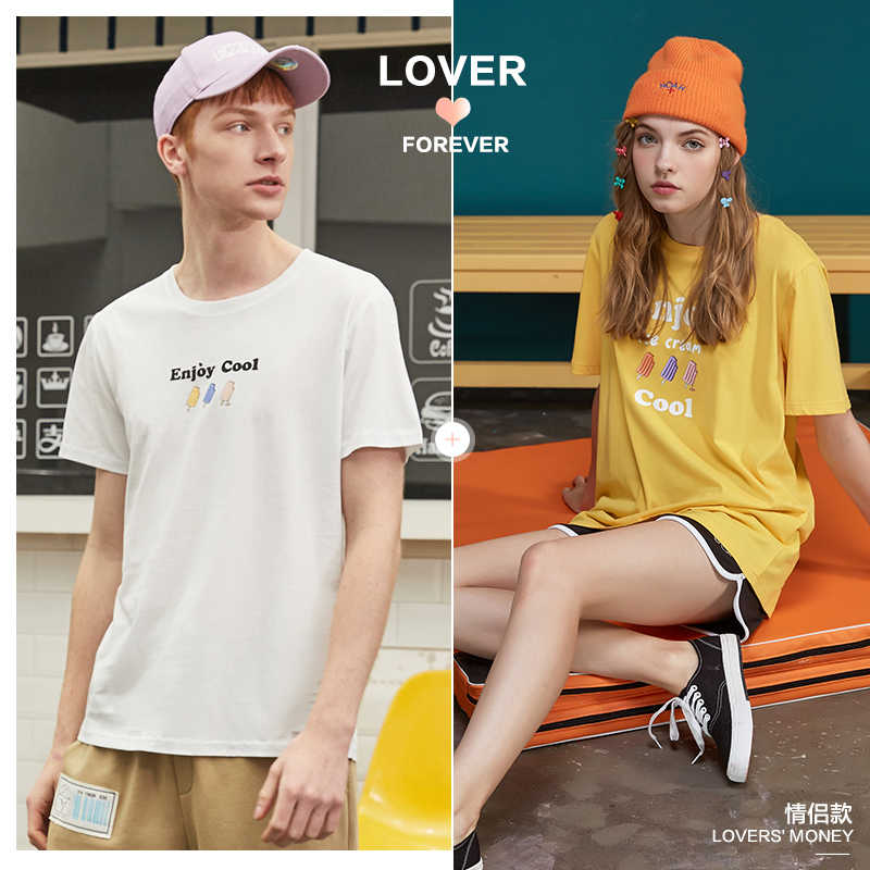 Metersbonweカップルのtシャツ女性のソリッドカラーの夏トレンドtシャツカジュアル漫画の印刷半袖シャツ愛のため