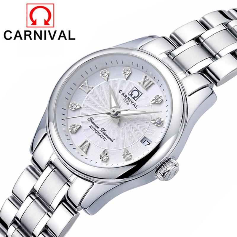 Carnival Women Watches Switzerland Luxury Brand Ladies Automatic Mechanical Watch Women Sapphire Relogio Feminino Reloj Mujer