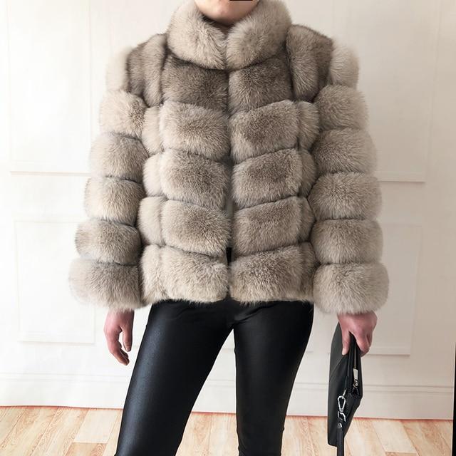 100% true fur coat Women's warm and stylish natural fox fur jacket vest Stand collar long sleeve leather coat Natural fur coats 5