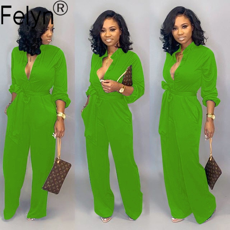Hcf1fc66d31bf4ebabb6c498f7e22f1f5F - Felyn New Arrival Office Lady Straight Jumpsuits Bright Color Belt Turn-down Collar Street Wear Soft Bodcyon Rompers BB8602