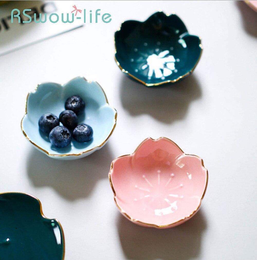 2 uds. Plato de cerámica de flor de cerezo japonés creativo 3 pulgadas cubiertos plato de salsa plato de baratija plato en forma de flor para la cocina
