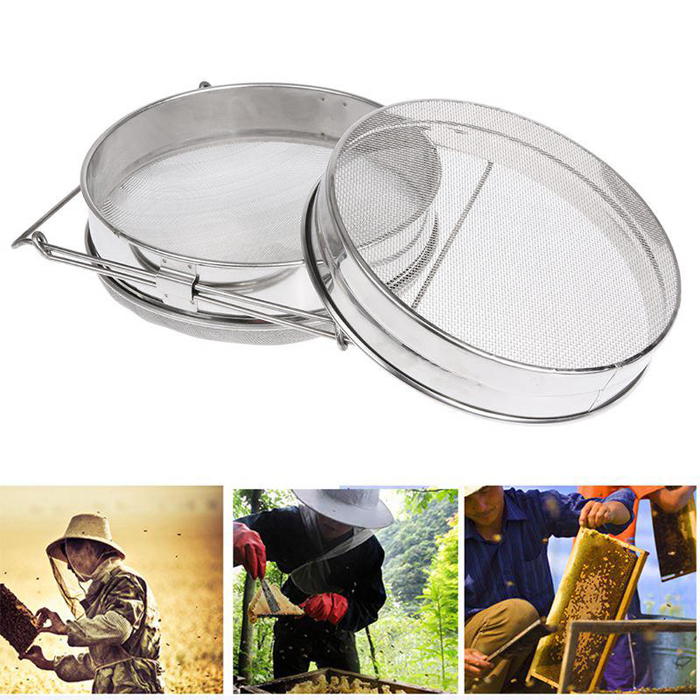 Honey Strainer Double Sieve Stainless Steel Beekeeping Equipment Filter Reusable Eco-Friendly Resistant Oxidation Tool For Farm