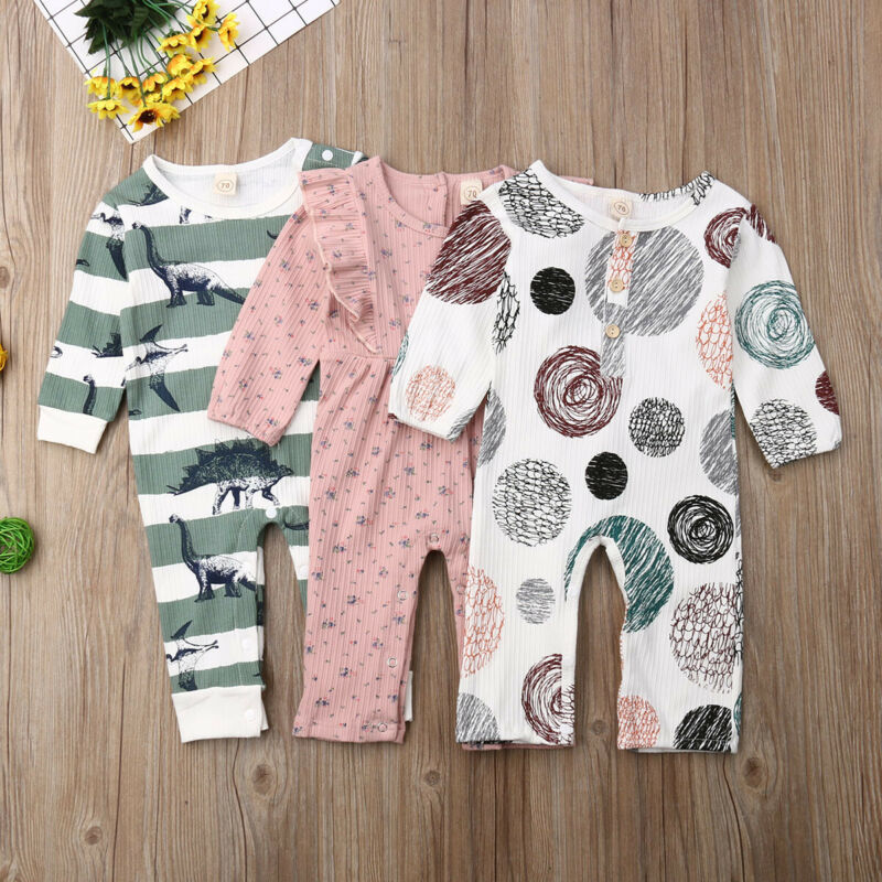Canis Newborn Kids Baby Girls Autumn Romper Jumpsuit Infant Clothes Outfits Long Sleeve Cotton