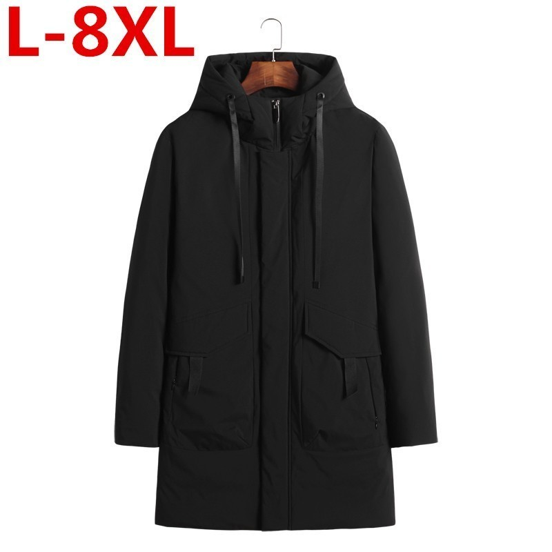 Plus Size 8XL 7XL 6XL 5XL Men Long Down Jacket  New Arrival Fashion Hooded Winter Thick Warm Duck Down Brand Clothing Parka