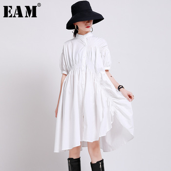 [EAM] Women White Pleated Irregular Big Size Shirt Dress New Stand Collar Half Sleeve Loose Fit Fashion Spring Summer 2020 1W736