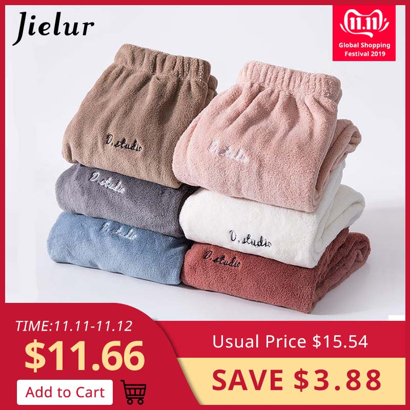 Jielur Flannel Sleep Bottoms Thick Pyjama Pants Women Men Casual Home Wear Letter Solid Color Soft Cotton New Winter 2019