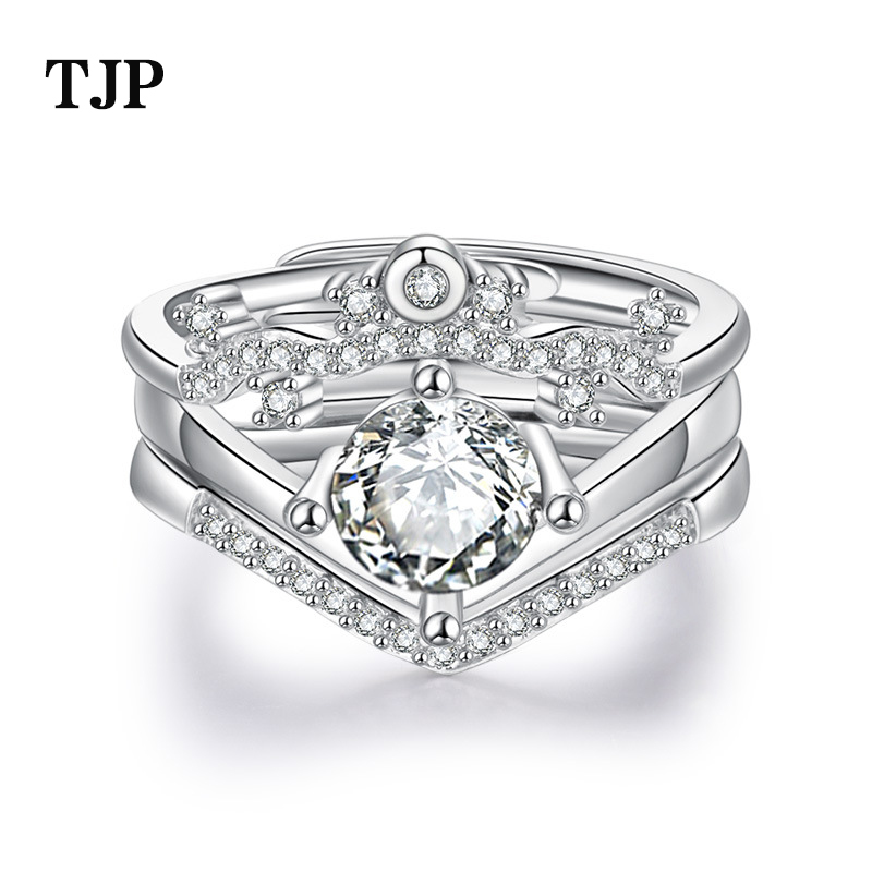 2019 fashion new crown micro inlay three in one ring fashion ladies combination open ring in Rings from Jewelry Accessories