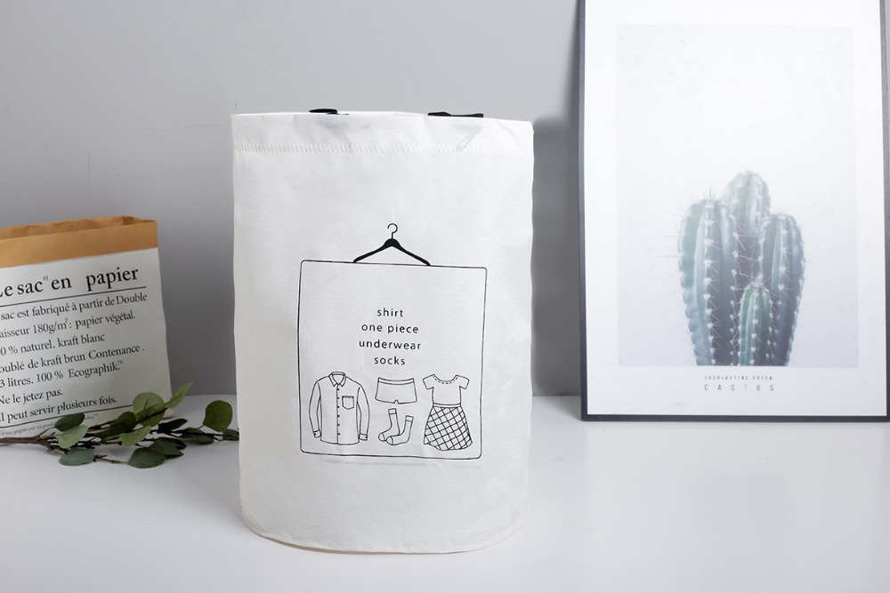 Laundry Basket Picnic Basket Stand Toy Storage Box Bag Cotton Washing Dirty Clothes  Basket Organizer Bin Handle 4050 (4)