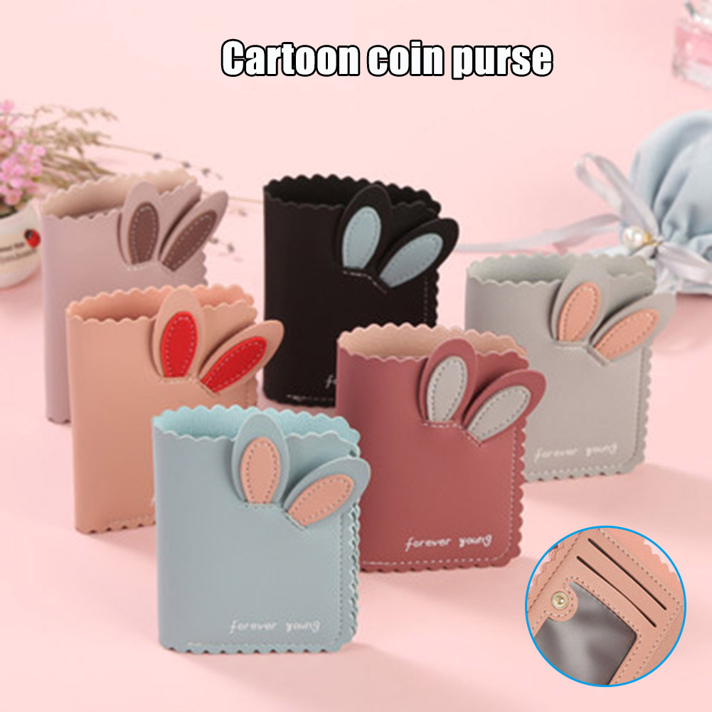 Women Small Wallet Lovely Rabbit Ears Wallets Cards Holder Short Design Purse Girls Wallet Cash Holder LXX9