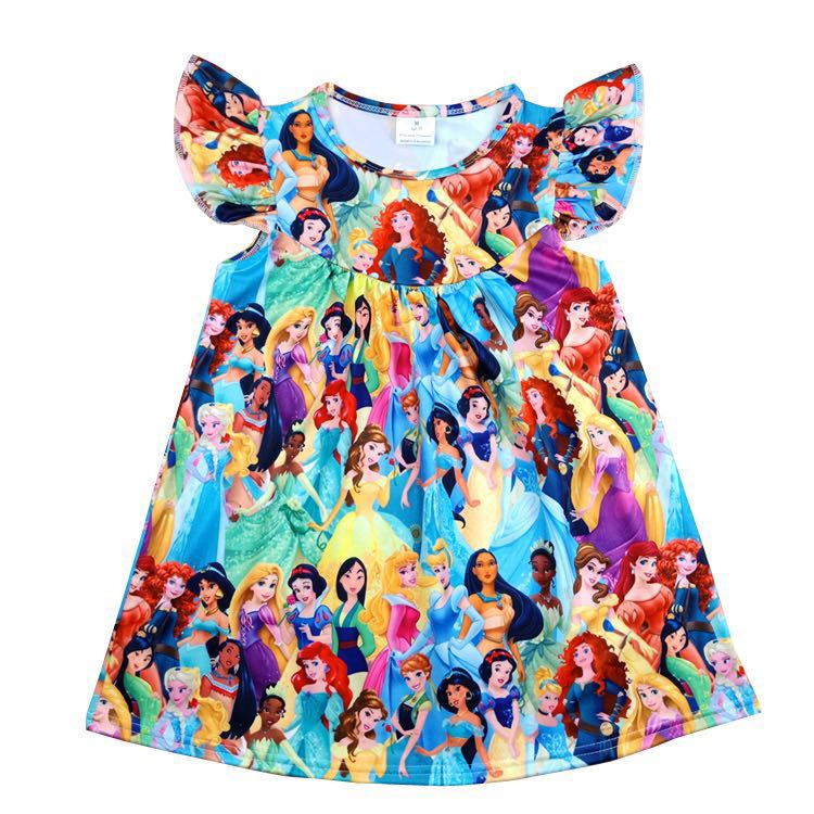 Hot Seling Princess Dress Toddlers Pearl Sleeve Dress Children Summer Clothes Milksilk Cartoon Princess Girls Clothing  Wholesal