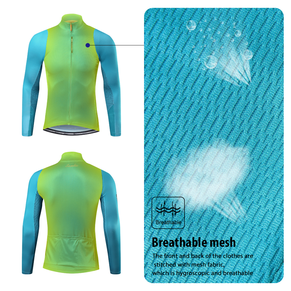 Santic Cycling-Jersey Road-Bike-Tops Sun-Protective Long-Sleeves Comfortable Fit Men
