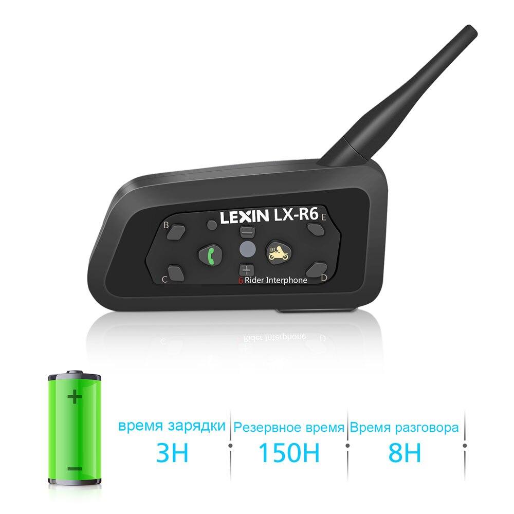 Lexin 2шт R6 Bluetooth Интерком для Мотошлема Водозащитная Мотогарнитура для 6 Райдеров в Группе BT 21 Helmet Intercom MP3 - 3