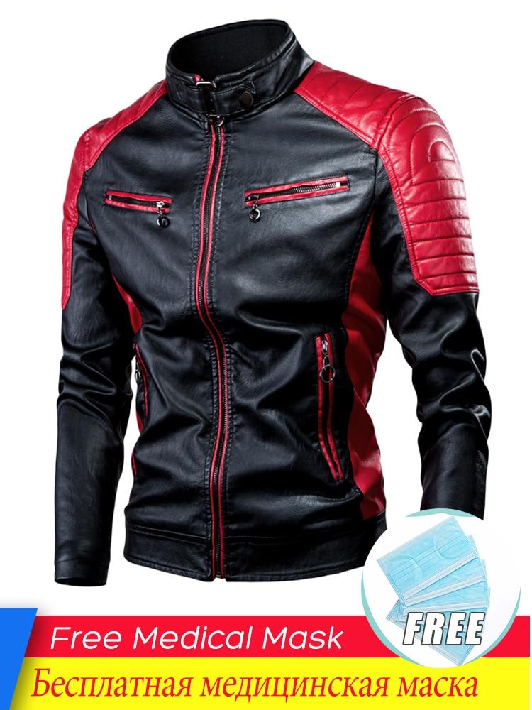 Jacket Coat Men Spring Biker Casual-Motor Fleece Vintage Fashion Warm Autumn Spliced