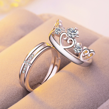 Fine Jewelry Resizable Engagement Lovers Rings For Women Men Couple Wedding Band Accessories Fashion Gifts Silver Ring Set недорого