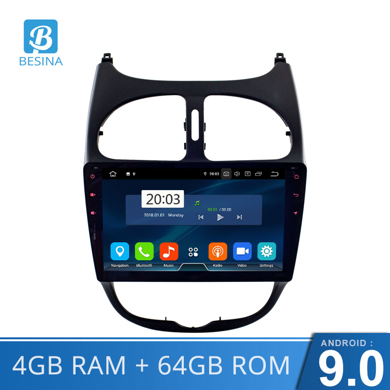 Besina Android 9.0 Car DVD Player For <font><b>Peugeot</b></font> <font><b>206</b></font> 2002 2003 2004 2005 2006 2007 2008 Multimedia GPS Navigation Stereo WIFI Octa Cores 4GB RAM 64GB ROM 1 Din Car Radio image