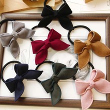 1PC 8 Colors Women Cute Bows Scrunchy Hair Bands Tie Rope Elastic Girls Fabric Ponytail Holder Accessories