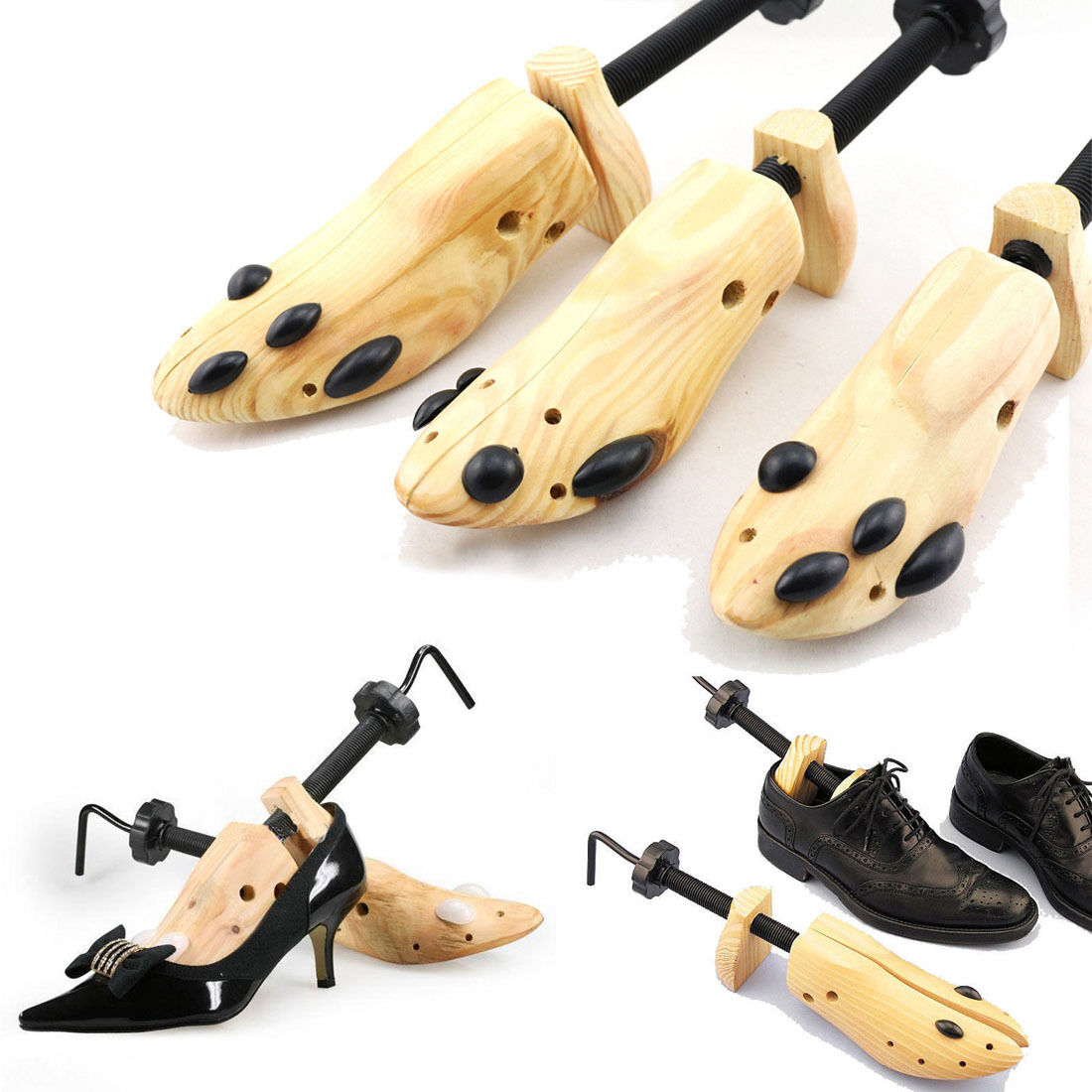 BSAID 1 Piece Shoes Stretcher Wooden Shoe Tree Shaper Rack,Wood Adjustable Zapatos De Homb Expander Trees Size S/M/L Man Women