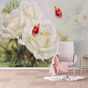 Custom 3D Wallpaper Modern White Rose Butterfly Flowers Murals Living Room TV Sofa Bedroom Background Wall Decor Papel De Parede