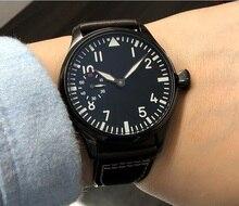 44 مللي متر GEERVO الأسود الهاتفي 17 جواهر الآسيوية 6497/3600 اليد الميكانيكية الرياح حركة ساعة رجالي PVD case ساعة ميكانيكية gr197a