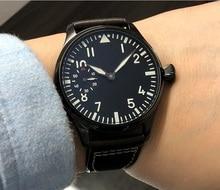 44mm  GEERVO black dial 17 jewels Asian 6497/3600 Mechanical Hand Wind movement mens watch PVD case Mechanical watch gr197a