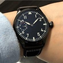 44mm GEERVO black dial 17 jewels Asian 6497/3600 Mechanical Hand Wind movement m