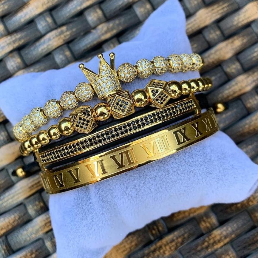 Luxury Roman Royal Crown Charm Bracelet Men Fashion 2020 New Gold Braided Adjustable Men Bracelet For Hip Hop Jewelry Gift