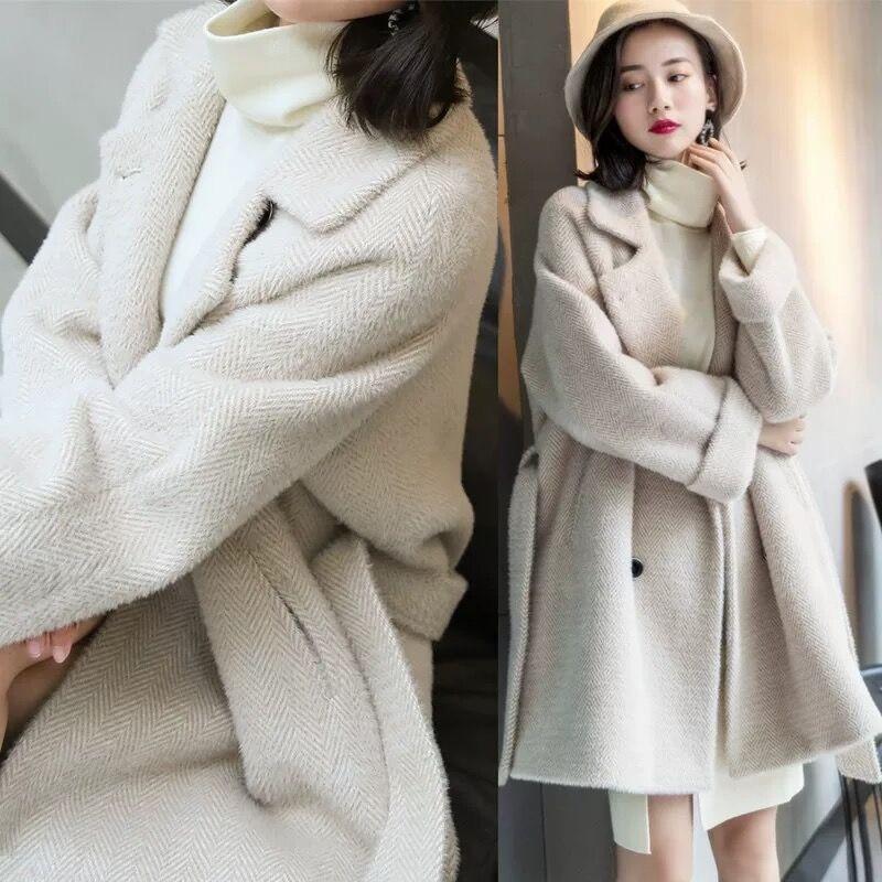 Automne hiver manteau femmes 2019 coréen décontracté veste femmes grande taille cachemire chaud épais Plaid Long manteau Beige gris manteau femme