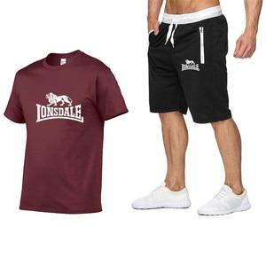 Image 5 - Summer Men Sportswear Sets Short Sleeve T shirts + Shorts New Fashion Casual Men Sets Shorts + 2 Piece T shirts