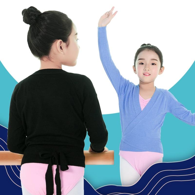 New Winter Autumn Warm Long Sleeve Waist Belt Sweater Child Girls Kids Ballet Dance Wrap Cross Tops