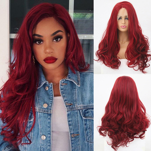 Charisma Long Body Wave Synthetic Lace Front Wig Side Part Red Wigs Glueless Heat Resistant Hair Wigs For Black Women
