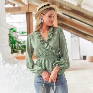 Image 3 - Simplee Vintage volants col en V femmes blouse chemise à manches longues à pois femme vert hauts élégant fête de vacances dames blouses